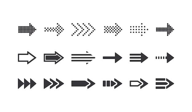 Conjunto de sinais de seta, ícones de retrocesso, elementos de design gráfico para navegação em sites, símbolos de cursor e pictogramas remotos