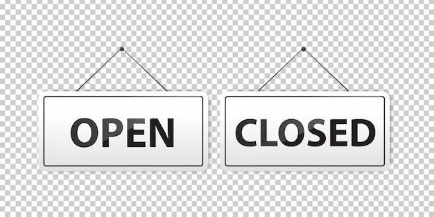 Conjunto de sinais de suspensão realistas de aberto e fechado para decoração e cobertura no fundo transparente. Vetor Premium