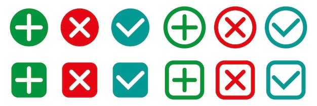 Conjunto de sinais de tique e cruzada ícones de marcas de seleção de design plano marca de seleção verde ok e x vermelho