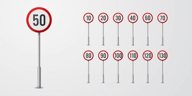 Conjunto de sinais de tráfego de limite de velocidade