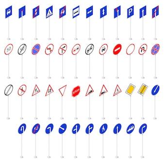 Conjunto de sinais de trânsito coleção 3d em isometria