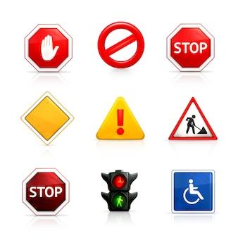 Conjunto de sinais de trânsito e estradas