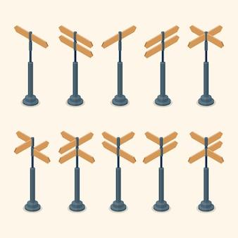Conjunto de sinais de trânsito em branco isométrico