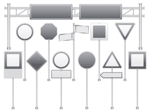 Conjunto de sinais de trânsito em branco realista