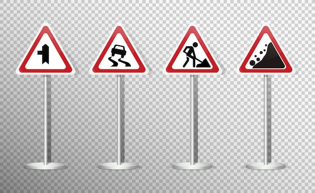 Conjunto de sinais de trânsito isolado na transparente. .