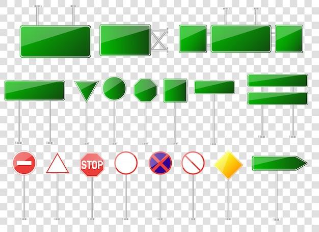 Conjunto de sinais de trânsito isolado na transparente