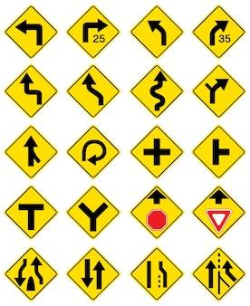 Conjunto de sinais de trânsito isolados no branco