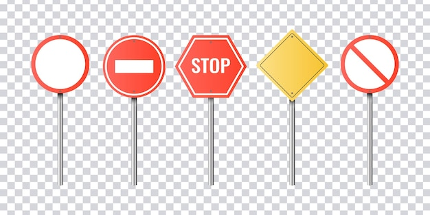 Conjunto de sinais de trânsito realistas. isolado em transparente