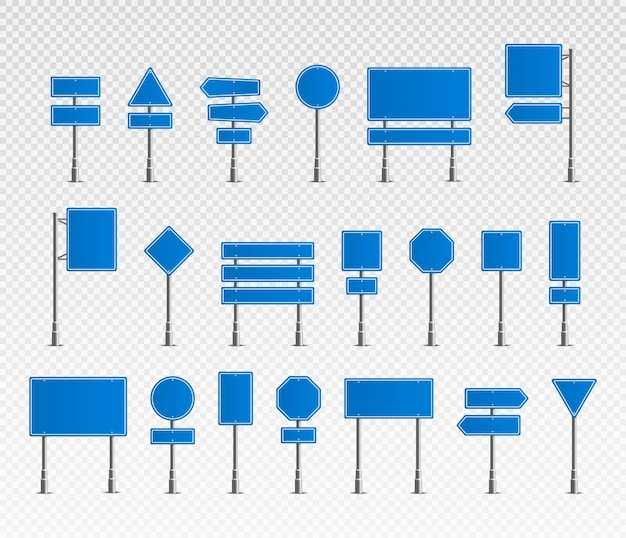 Conjunto de sinais de trânsito realistas símbolo roadsign