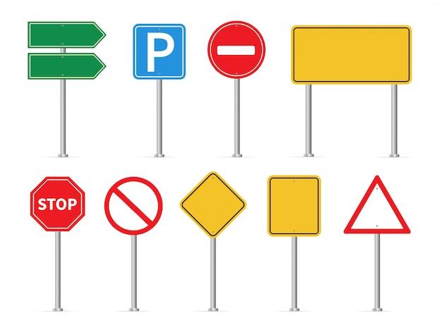 Conjunto de sinais de trânsito. sinais de trânsito
