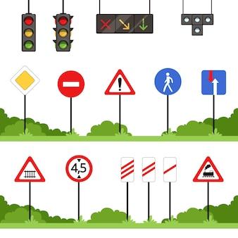 Conjunto de sinais de trânsito, várias ilustrações de sinal de trânsito