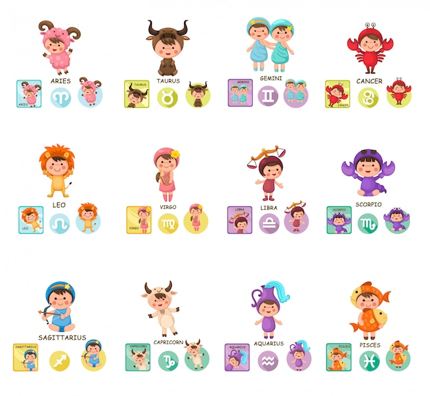 Conjunto de sinais do zodíaco de desenhos animados
