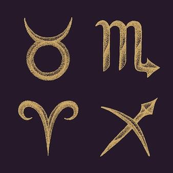 Conjunto de sinais do zodíaco de mão desenhada