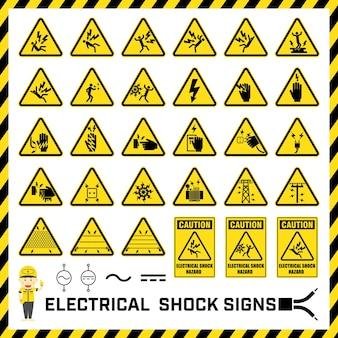Conjunto de sinais e símbolos de precaução de segurança