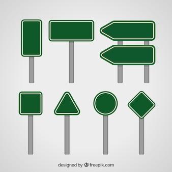 Conjunto de sinais em design plano