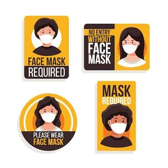 Conjunto de sinais necessários para máscara facial