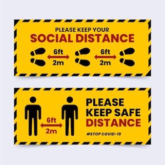 Conjunto de sinal de banner de distância social