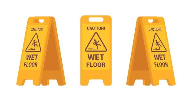 Conjunto de sinal de chão molhado