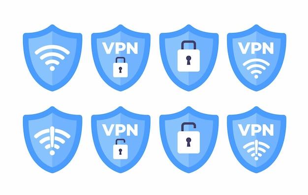 Conjunto de sinal de ícone de wi-fi de escudo sem fio vpn