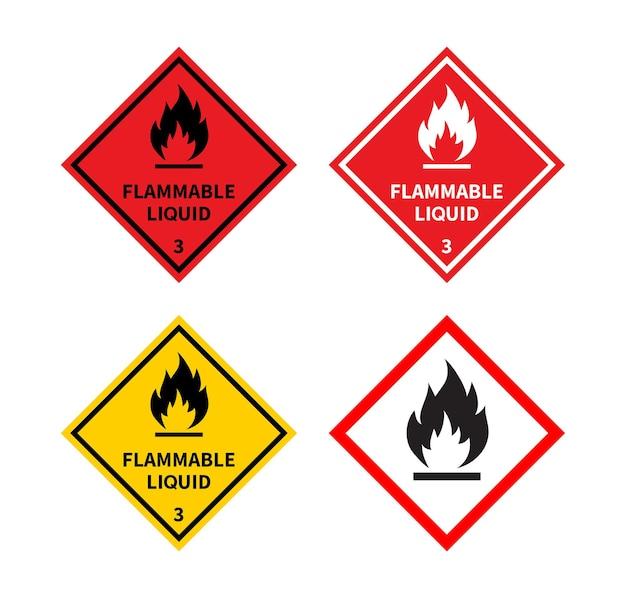 Conjunto de sinal de líquido inflamável em sinal de perigo de fundo branco