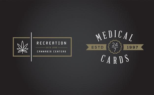 Conjunto de sinal de maconha medicinal de maconha ou modelo de etiqueta. pode ser usado como um logotipo.