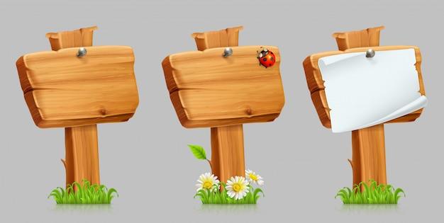 Conjunto de sinal de madeira. conjunto 3d