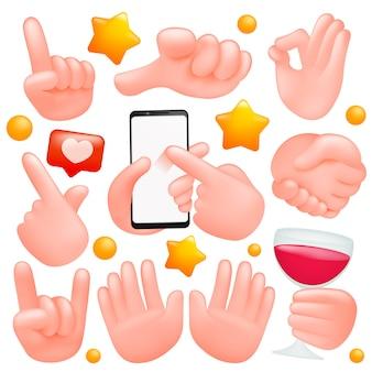 Conjunto de sinal de mãos humanas.