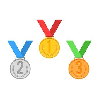 Conjunto de sinal de medalha. ouro prata bronze.