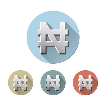 Conjunto de sinal de moeda naira em ícones lisos do círculo colorido, isolado no branco. símbolo da unidade monetária da nigéria. conceito financeiro, de negócios e de investimento. ilustração vetorial