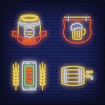 Conjunto de sinal de néon de cerveja pub. barril, tabuleta
