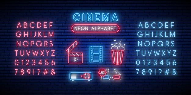 Conjunto de sinal de néon de cinema e alfabeto.