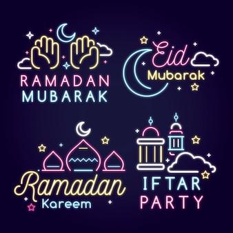 Conjunto de sinal de néon do ramadã