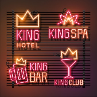 Conjunto de sinal de néon do rei. hotel king, king spa, king bar e king club. neon rosa e laranja.