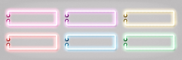 Conjunto de sinal de néon isolado realista de moldura colorida para modelo de convite e layout de espaço de cópia