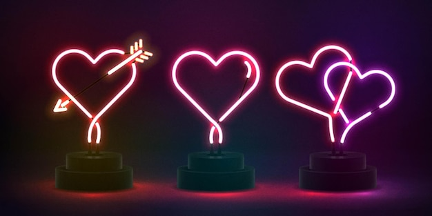 Conjunto de sinal de néon isolado realista do logotipo de coração para modelo de convite. conceito de dia dos namorados.