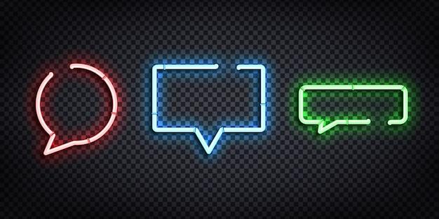Conjunto de sinal de néon realista do logotipo da bolha do discurso para decoração e cobertura no fundo transparente.