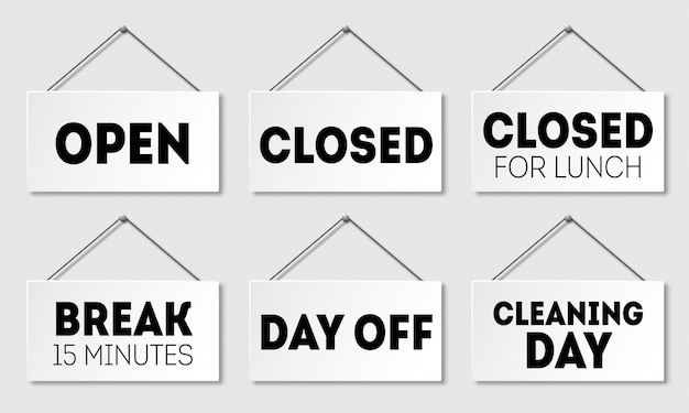 Conjunto de sinal de porta realista com sombra. tabuleta com uma corda. aberto, fechado para almoço, intervalo, folga, dia de limpeza
