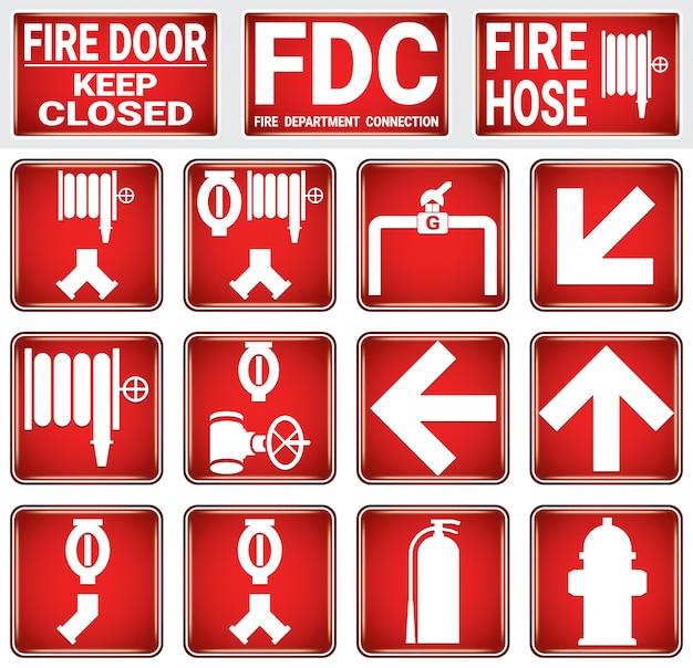 Conjunto de sinal de proteção contra incêndio.