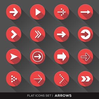 Conjunto de sinal de seta, ícones lisos com longa sombra