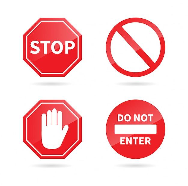 Conjunto de sinal de stop. sinal proibido.
