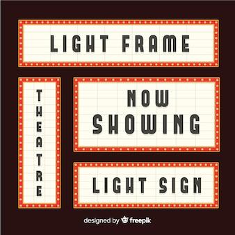 Conjunto de sinal de teatro plana