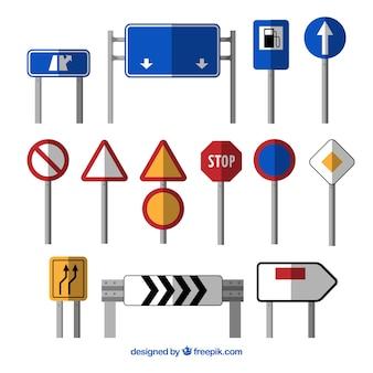 Conjunto de sinal de trânsito no design plano