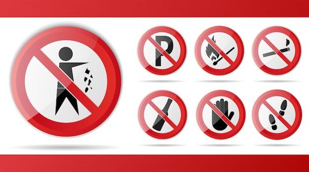 Conjunto de sinal de trânsito proibição vermelho, por aviso e atenção.