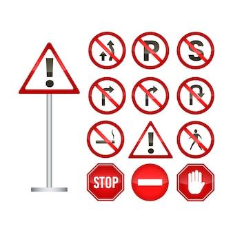 Conjunto de sinal de trânsito vermelho isolado
