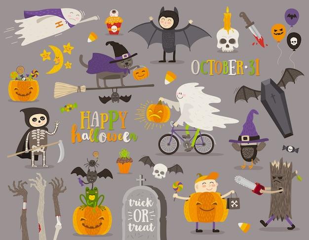 Conjunto de sinal, símbolo, objetos, itens e personagens de desenhos animados de halloween. ilustração.