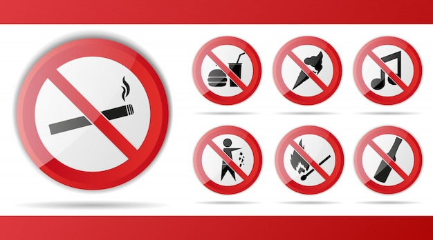 Conjunto de sinal vermelho de proibição