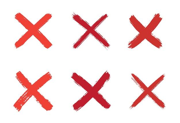 Conjunto de sinal x vermelho desenhado à mão