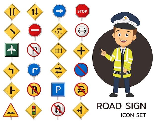 Conjunto de sinalização de trânsito