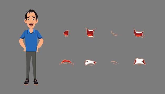 Conjunto de sincronização labial da boca do personagem. emoções diferentes para animação personalizada