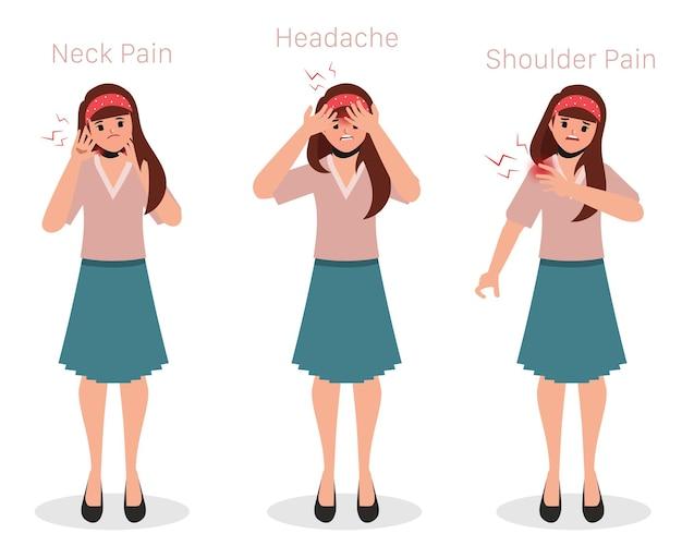 Conjunto de síndrome do escritório com sintomas de dor em mulher